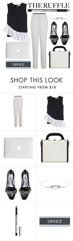"""""""the office"""" by foundlostme ❤ liked on Polyvore featuring Theory, J.W. Anderson, Bertoni, Kim Kwang, Barneys New York, U.S. Stamp & Sign, office and ruffles"""