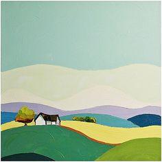 "Daily Paintworks - ""Our Land"" - Original Fine Art for Sale - © Donna Walker Guache, Naive Art, Landscape Art, Painting Inspiration, Watercolor Art, Folk Art, Art Drawings, Abstract Art, Canvas Art"
