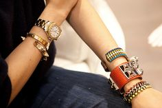 Can you count all the iconic pieces on these two wrists? Hermes, Cartier... yowza.