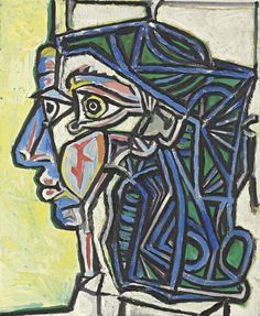 The next Picasso muse to appear in our Impressionist and Modern Art sale on Nov his 1952 oil on canvas Tête de femme. The portrait depicts Françoise Gilot, Picasso's lover and companion from 1946 to 1953 and the mother of his children Claude and Paloma. Pablo Picasso, Kunst Picasso, Art Picasso, Picasso Paintings, Georges Braque, Francoise Gilot, Cubist Movement, Atelier D Art, Spanish Painters