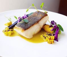 "7,401 Likes, 49 Comments - @chefsofinstagram on Instagram: ""Crispy skin black cod (sablefish) on chat grilled curry corn broth, grilled curry rainbow carrots,…"""