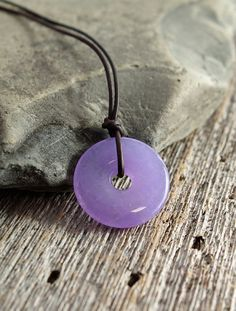 lavender jade jadeite donut pendant on adjustable leather cord, lavender jade…