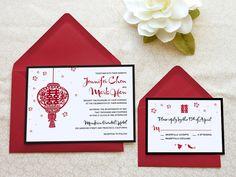 Chinese Lantern Double Happiness Wedding Invitations