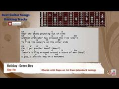 Holiday - Green Day Guitar Backing Track with scale, chords and lyrics