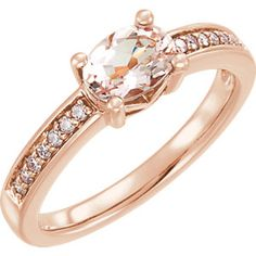 14K Rose Morganite & 1/10 CTW Diamond Ring #mystullerstyle Page 313 #FallinginLovewithRoseGold