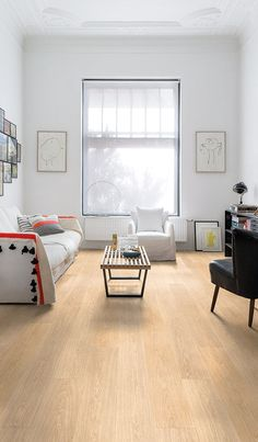 Quick-Step Laminate Flooring - Largo 'White varnished oak' - Wood Floor Texture Ideas & How to Flooring On a Budget Step by Step Flooring Options, Diy Flooring, Laminate Flooring, Wood Floor Texture, Hardwood Floor Colors, Living Room Flooring, Living Room Inspiration, Decoration, Home Decor