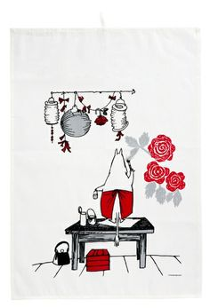 The sympathetic Moomin mamma is painting the walls for a upcoming party in our adorable kitchen towel set Tove Jansson, Finding Neverland, Video Game Characters, Little My, Typography Prints, Cartoon Images, Marimekko, Scandinavian Design, Comic Art