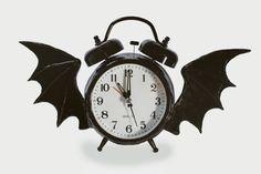 Alarm Clock Altered with Bat Wings, Black, Altered Clock, Alarm Clock, Goth…