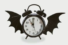 Alarm Clock Altered with Bat Wings, Black, Altered Clock, Alarm Clock, Goth clock.