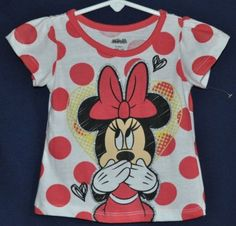 Girls kids Disney Minnie Mouse short sleeve graphic print t- shirt The color is white with pink polka dots Size 12m