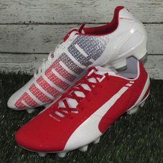 Puma EvoSpeed 2.3 FG Soccer Cleats Mens Sizes Red/White 10301202 (MSRP $140) #Puma