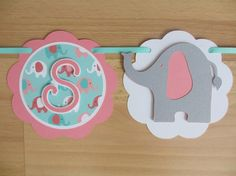 Elephant It's A Girl Baby Shower Banner Sign Birthday Party Pink Aqua Turquoise Blue Teal Jungle Safari Zoo Party Decorations Decor
