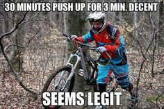 Sometimes people taking part in specific disciplines of cycling will purchase a specialized mtb, developed for the discipline. While cross-country, freerider and enduro are the most common discipli… Bike Meme, Bike Humor, Cycling Memes, Best Mtb, Mountain Biking Quotes, Mt Bike, Bike Quotes, Downhill Bike, Funny Jokes