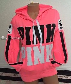 Victoria's Secret Pink Bright Neon Pink Black White Logo Pullover Hoodie -M *NIP in Clothing, Shoes & Accessories, Women's Clothing, Sweats & Hoodies | eBay