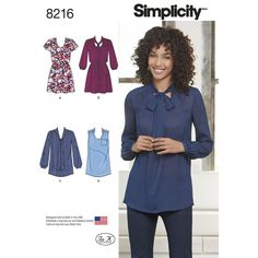 Get a variety of looks with this tunic and dress pattern for misses. Pattern features bow blouse or mini dress with elastic waist, tank top with pocket and stand collar, and mini dress with flutter sleeves. Simplicity sewing pattern.