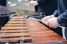 "Xylophones are instruments used in symphony orchestras as well as in popular entertainment. The name comes from the Greek words ""xylon"" and ""phone,"" meaning ""wooden sound."" A xylophone consists of a series of wooden blocks, attached to a base, that vibrate when hit with mallets."