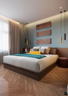 Bedroom in teal color on Behance