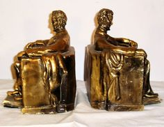 brass Abe Lincoln book ends.