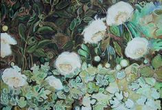 """White Peony"" - Lucinda Storms, oil on canvas"