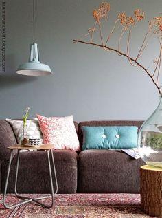 Bruine bank prachtig gecombineerd met grijs/steel en verschillende gekleurde kussens