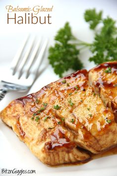 Halibut Balsamic-Glazed Halibut - A flavorful brown sugar and balsamic glaze coats this light and flaky fish.Balsamic-Glazed Halibut - A flavorful brown sugar and balsamic glaze coats this light and flaky fish. Seafood Dishes, Seafood Recipes, Cooking Recipes, Healthy Recipes, Cooking Fish, Budget Cooking, Cooking Steak, Cooking Videos, Steak Recipes