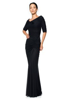 8e0907c160 Asymmetric Ruched Sleeve Gown in Black Women s Evening Dresses