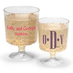 Personalized Clear Plastic Wine Glasses