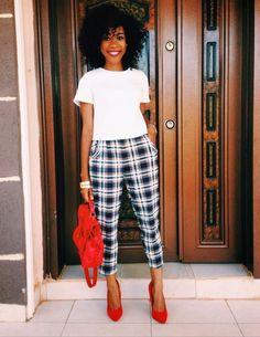 "naturalblkgirlsrock: "" SORTING TARTAN "" BGKI - the website to view fashionable & stylish black girls shopBGKI today Fashion Moda, Work Fashion, Casual Outfits, Cute Outfits, Fashion Outfits, Preppy Fashion, Plaid Pants Outfit, Printed Pants Outfits, Black Women Fashion"