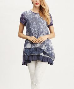 Another great find on #zulily! Blue Tie-Dye Ruffle Layered Tunic by Simply Couture #zulilyfinds