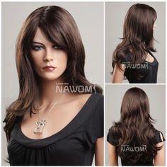 Medium long hair wig for women dark brown wigs