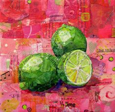 """ZESTY LIMES Original Paper Collage Citrus Fruit Painting 6"""" X 6"""" on Gallery wrapped canvas Apple Painting, Fruit Painting, Classroom Art Projects, Art Classroom, Acrylic Gel Medium, Paper Fruit, Paper Collage Art, Torn Paper, Painted Paper"""