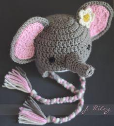 Crochet baby elephant hat. FREE pattern found here:  http://www.allfreecrochet.com/Baby-Hats/Elephant-Crochet-Hat