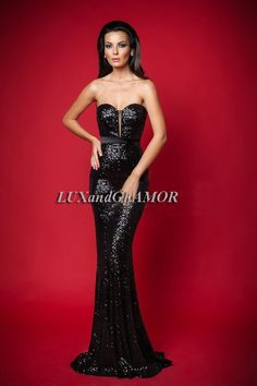 Evening Dress/Black Sequins Mermaid Strapless Formal Dress/Sequins Formal Dress image 1