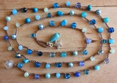 Items similar to Luxe Beachy Gemstone Crochet Necklace/ Wrap Bracelet, Everyday Jewelry on Etsy Diy Jewelry, Jewelry Necklaces, Handmade Jewelry, Jewelry Making, Unique Jewelry, Bracelets, Crochet Beaded Necklace, Crochet Designs, Crochet Crafts