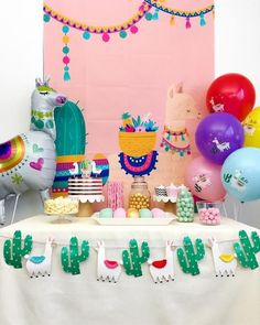 It's a No Llama Drama Party! Celebrate baby shower, birthday or any event with this Llama Party Kit that has a variety of party decorations that includes llama backdrop, llama garland, and llama balloons. *These are physical items ready to shi. Monkey Birthday Parties, Girl Birthday, Llama Birthday, Unicorn Birthday, Baby Shower Decorations For Boys, Birthday Party Decorations, Baby Shower Party Supplies, Baby Shower Parties, Fiesta Theme Party