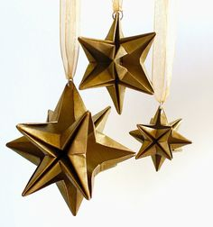 Origami Christmas stars Gold Set of 3