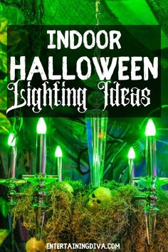 Getting ready for the Halloween party is so much fun, and the indoor Halloween lighting is so important to have that spooky house effect. This is the ultimate list of the best indoor Halloween lighting effects and ideas that will make your house extra special. Haunted House Decorations, Spooky Halloween Decorations, Halloween Displays, Halloween Candles, Halloween Themes, Halloween Party Drinks, Hallowen Party, Halloween Bottles, Spooky House