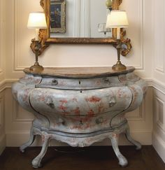 Dodie Rosekrans - Property from the Collection of Dodie Rosekrans.  An Italian Rococo blue and rose-painted commode Venice, mid-18th century.