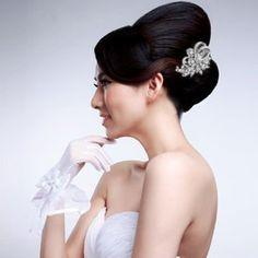 Ever Faith Silver Tone Wedding Flower Leaf Hair Comb Clear Austrian Crystal