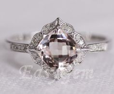 NEW DESIGN!Vintage Morganite and Diamond Ring /Morganite ring/Morganite engagement ring/moissanite ring/morganite band/morgaite wedding ring...