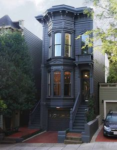 Come to the Dark Side: 14 Totally Chic Black House. - Come to the Dark Side: 14 Totally Chic Black Houses Come to the Dark Side: 14 Totally Chic Black H - Design Exterior, Exterior Colors, Exterior Shutters, Exterior Houses, Stone Exterior, Exterior Rendering, Exterior Signage, Building Exterior, Townhouse Exterior