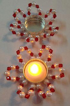 31 Diwali Craft Ideas for Kids! Diwali Candle Holders, Diwali Candles, Mason Jar Candle Holders, Candle Holder Decor, Arti Thali Decoration, Diwali Decoration Items, Ganapati Decoration, Handmade Decorations, Diwali Craft
