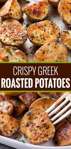 Yukon and red potatoes, seasoned with a fantastic homemade Greek seasoning blend. Yukon and red potatoes, seasoned with a fantastic homemade Greek seasoning blend, and roasted to crispy perfection! They're the ultimate side dish! Greek Side Dishes, Potato Side Dishes, Vegetable Side Dishes, Vegetable Recipes, Veggie Food, Greek Roasted Potatoes, Greek Potatoes, Oven Potatoes, Seasoned Roasted Potatoes