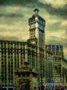 """""""Michigan Avenue Afternoon"""" ~ © 2016 RC deWinter ~ A view of the Wrigley Building on Michigan Avenue on a cloudy afternoon in downtown Chicago, Illinois. Available in a variety of media, sizes and configurations. Beautiful Artwork, Cool Artwork, Chicago Illinois, American Artists, Impressionism, Photo Art, Michigan, Ocean, Wall Art"""