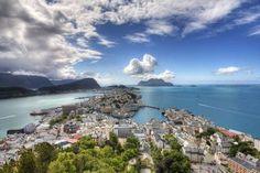 around the world  sky town sea coast Alesund, Norway