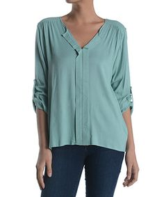 Another great find on #zulily! Sage Notch Neck Top by Poema #zulilyfinds