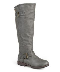 Dark Gray Stud Spokane Wide-Calf Boot