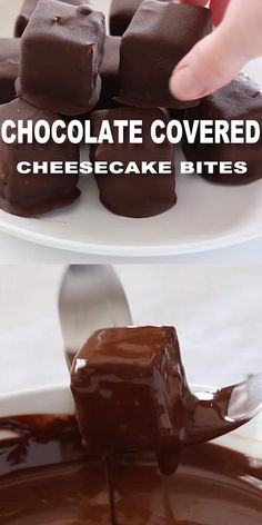 Chocolate Covered Cheesecake Bites. Perfect bite-sized cheesecake minis covered in a sweet chocolate shell coating. They are EXTREMELY addicting! Make these heavenly bites anytime! They're great to share with friends or just to have at home as a special treat. #cheesecake #bitesized #chocolate #dessert #recipe Mini Desserts, Easy Desserts, Delicious Desserts, Yummy Food, Dessert Healthy, Health Desserts, Fun Baking Recipes, Sweet Recipes, Healthy Recipes