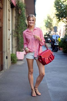 gingham shirt with shorts