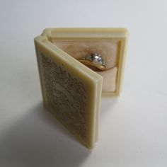Vintage 1930s Book Ring Box Floral Wedding Engagement 1940s. $58.00, via Etsy.